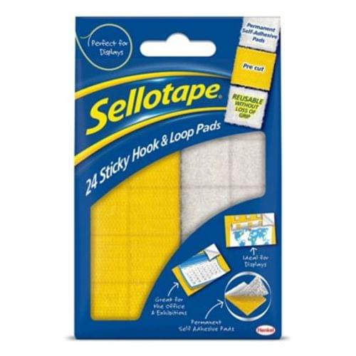 Sellotape Sticky Hook And Loop Pads Pack 24s