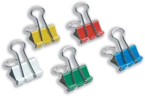 Coloured Foldback Clips 19mm Assorted Pack 10s