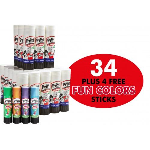 Pritt Sticks 43g Complete With 4 Colour Glue Sticks F.O.C.