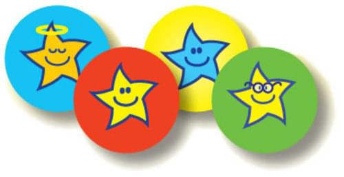 Team Colour Smiley Stars 10mm Sitckers Assorted Pack 720 55393