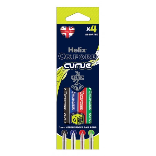 Helix Oxford Curve Ballpoint Pens Assorted Packs Of 4s