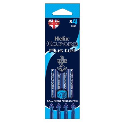 Helix Oxford Plus Gel Pens Packs Of 4 Blue Pens