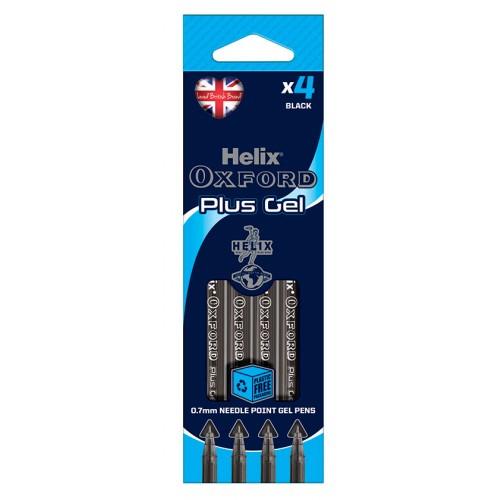 Helix Oxford Plus Gel Pens Packs Of 4 Black