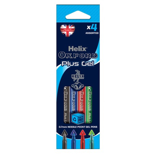 Helix Oxford Plus Gel Pens Packs Of 4 Assorted Colours