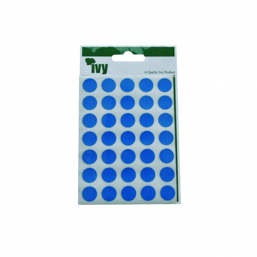 Ivy Self Adhesive Lable 13mm Diameter Blue Pack 140
