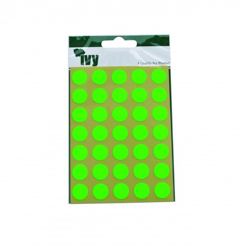 Ivy Self Adhesive Lable 13mm Diameter Green Pack 140