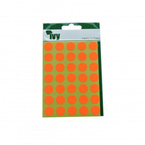 Ivy Self Adhesive Lable 13mm Diameter Orange Pack 140