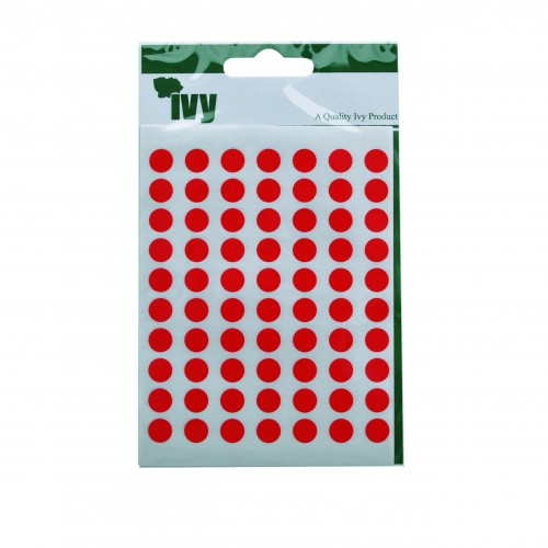 Ivy Self Adhesive Lable 8mm Diameter Red Pack 490