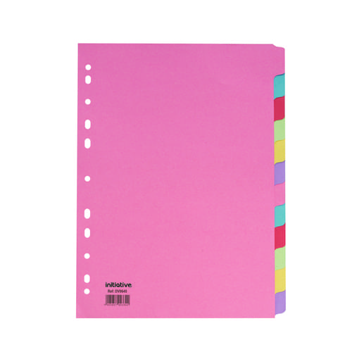 Coloured Manilla Subject Dividers A4 12 Part