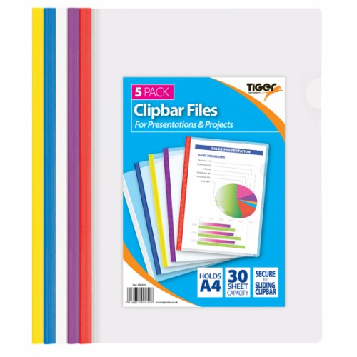 Tiger Clipbar Files Pack 5 Assorted