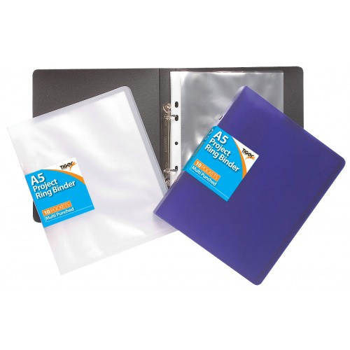 Tiger Stationery Project Ring Binders Solid Colours  Assorted Complete With 10 Pockets