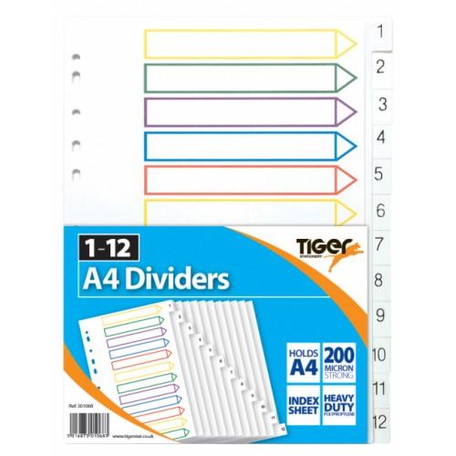 Tiger PP Dividers A4 1-12