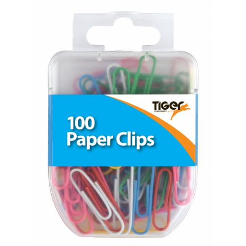 Tiger Paper Clips Assorted Colours