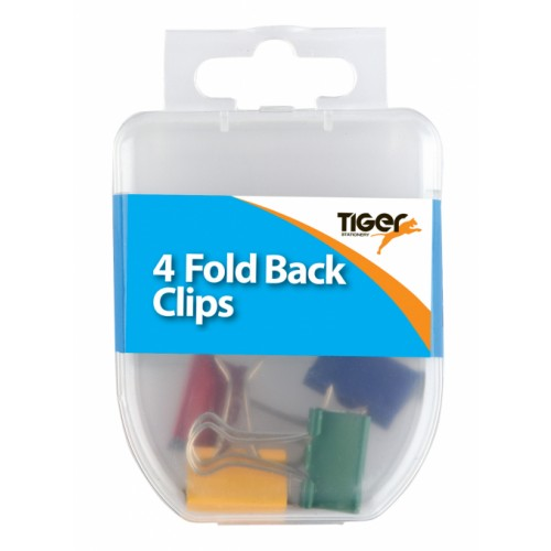 Tiger Foldback Clips Assorted Colours