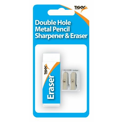 Tiger Eraser And Metal Double Hole Sharpener Set