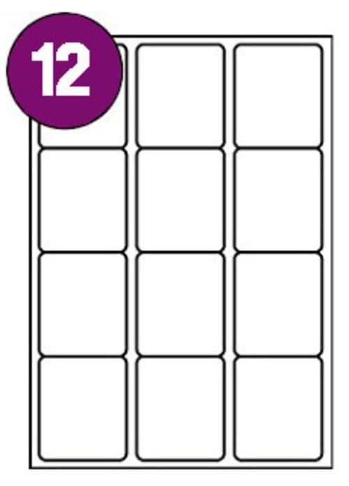 Inkjet  Laser Labels A4 12 Labels Per Sheet Box 100s