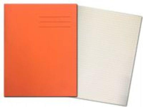 Exercise Books 8'' x 6.5'' 80 Pages 5mm Squares Orange