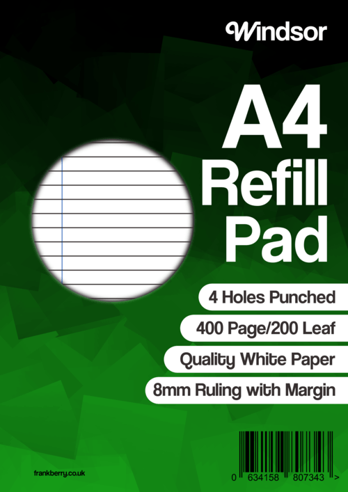 Windsor Refill Pad A4 400 Pages 8mm Feint And Margin