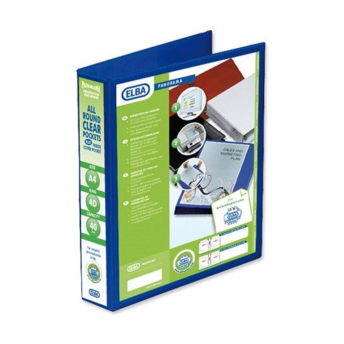 Panorama Presentation Binders A4 2 Ring 40mm Capacity Blue