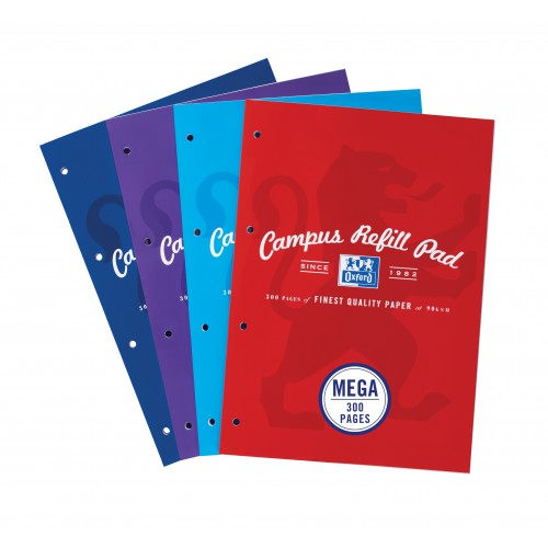 Oxford Campus A4 Refill Pad Ruled With Margin Punched 4 Holes 300 Pages Assorted Colours