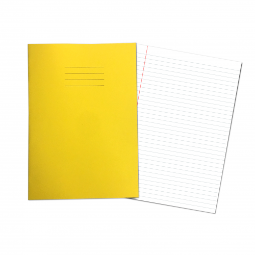 Exercise Books A4+ 320mm x 240mm 80 Pages 8mm & Margin Feint Yellow
