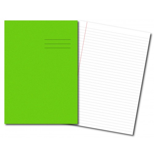 Exercise Books A4+ 320mm x 240mm 80 Pages 8mm Feint & Margin Light Green