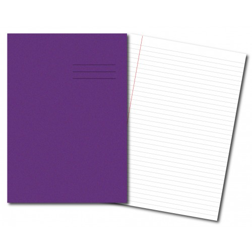Exercise Books A4+ 320mm x 240mm 80 Pages 8mm Feint & Margin Purple