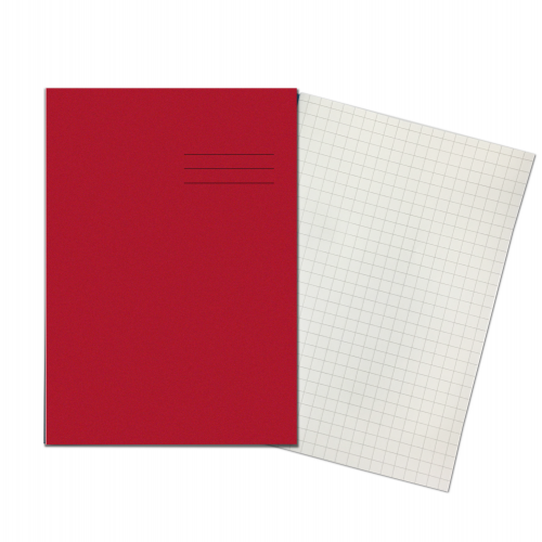Exercise Books A4+ 320mm x 240mm 80 Pages 10mm Squares Red