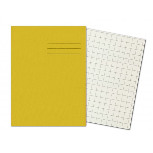 YELLOW Exercise Books A4+ 80 Pages 10mm Squares