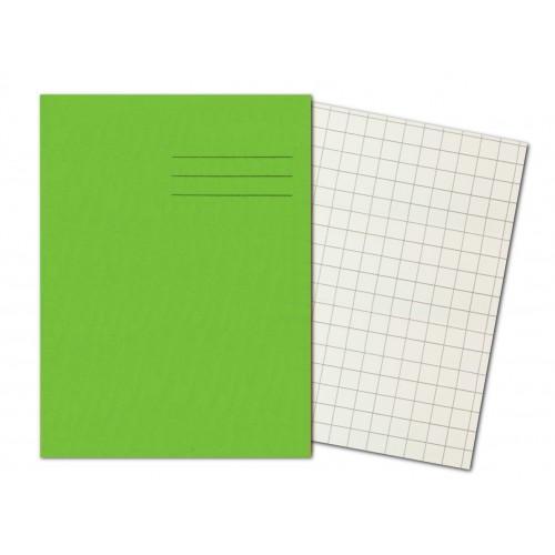 LIGHT GREEN Exercise Books A4+ 80 Pages 10mm Squares