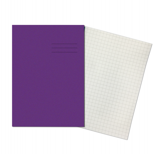 Exercise Books A4+ 320mm x 240mm 80 Pages 10mm Squares Purple