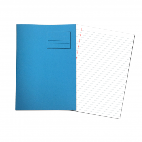 Exercise Books A4+ 320mm x 240mm 48 Pages 8mm Feint & Margin Light Blue