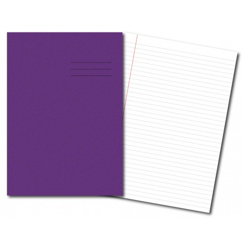 Exercise Books A4+ 320mm x 240mm 48 Pages 8mm Feint & Margin Purple