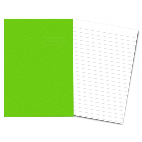 LIGHT GREEN Exercise Books A4+ 80 Pages 12mm Ruling
