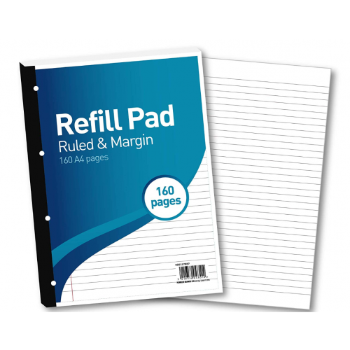 FBO Refill Pad A4 160 Pages 8mm Feint & Margin