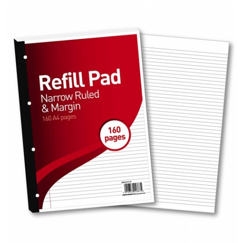FBO Refill Pad A4 160 Pages 6mm Feint & Margin