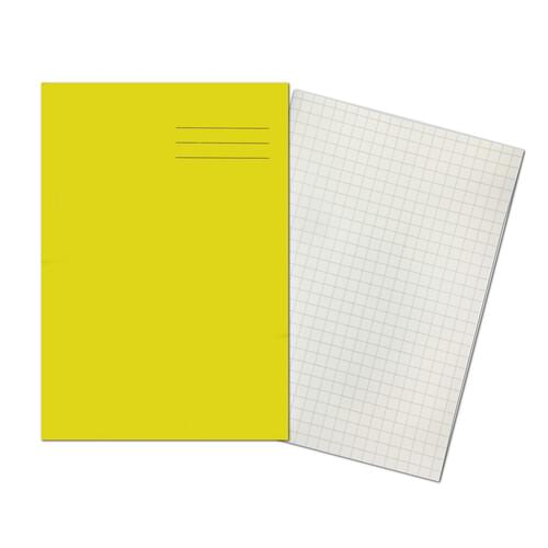 A4+ YELLOW 10mm Squared 48 Page Exercise Book