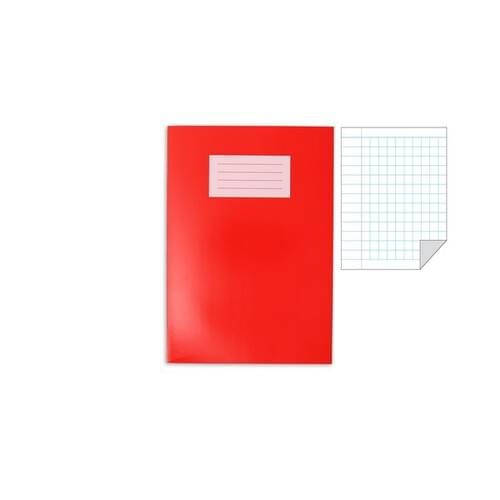 Oxford Laminated Exercise Book  A4 5mm Squared and margin 80 Page Red