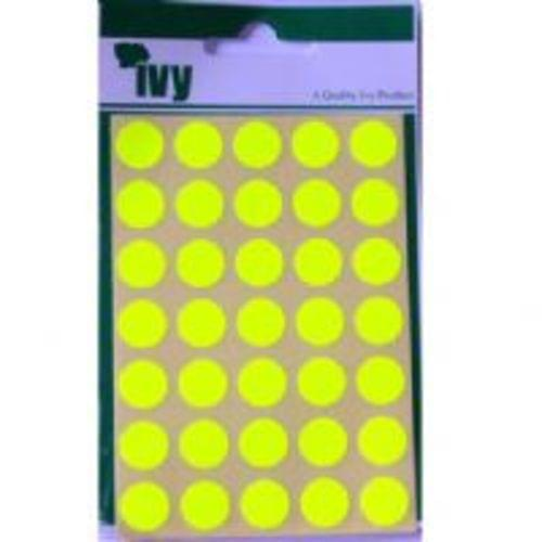 Ivy Self Adhesive Lable 13mm Diameter Yellow Pack 140
