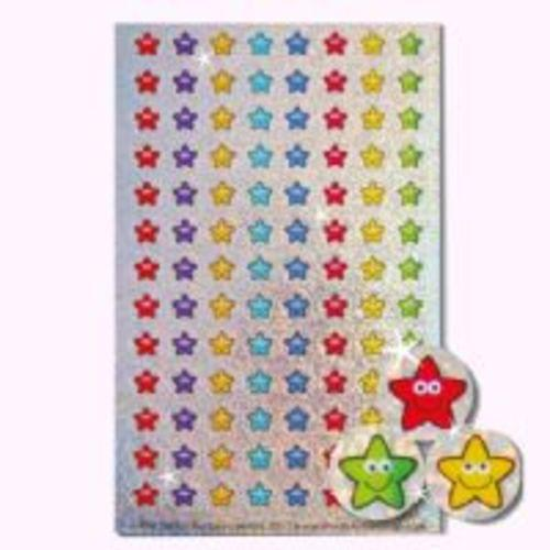 Sparkly Mini Star Smiley Stickers 416 Stickers Assorted 8 Colours