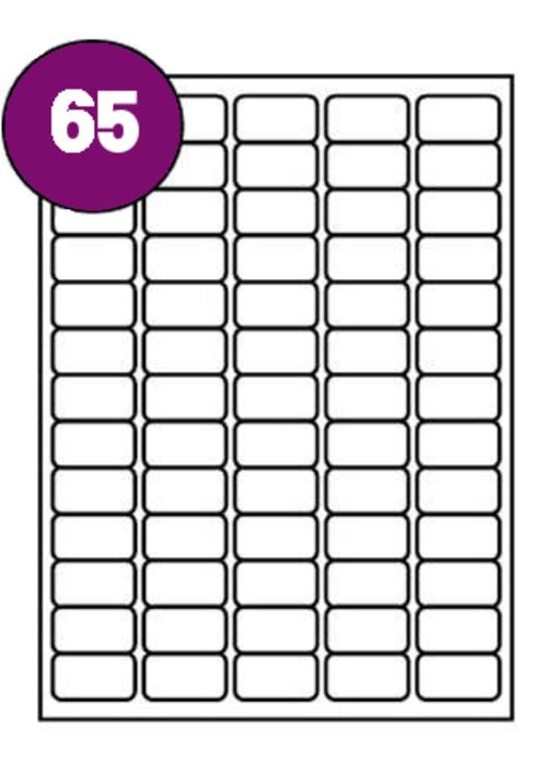 Inkjet  Laser Labels A4 65 Labels Per Sheet Box 100s