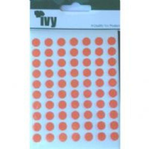 Ivy Self Adhesive Lable 8mm Diameter Orange Pack 490