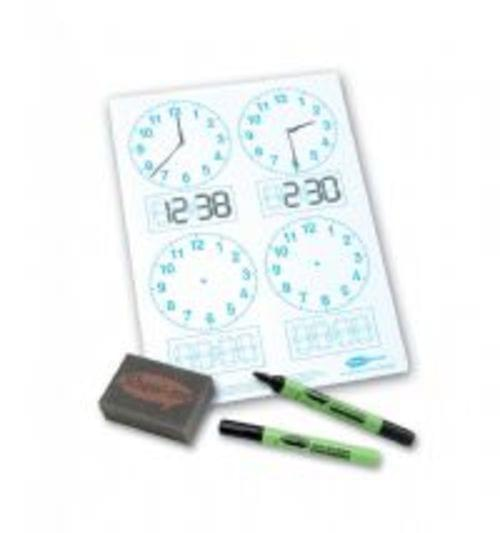 Show Me Drywipe Board 4 Clock-faced Pack Of 10