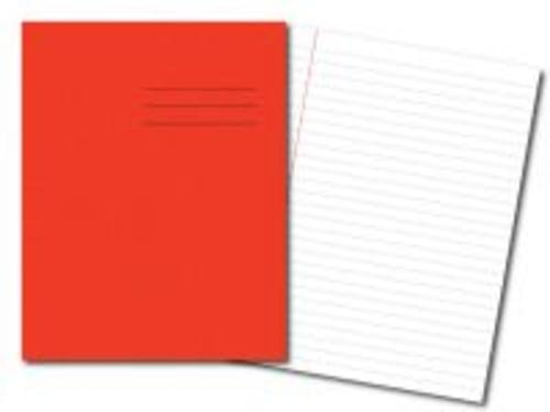 Exercise Books 8'' x 6.5'' 80 Pages 8mm Feint  Margin Red