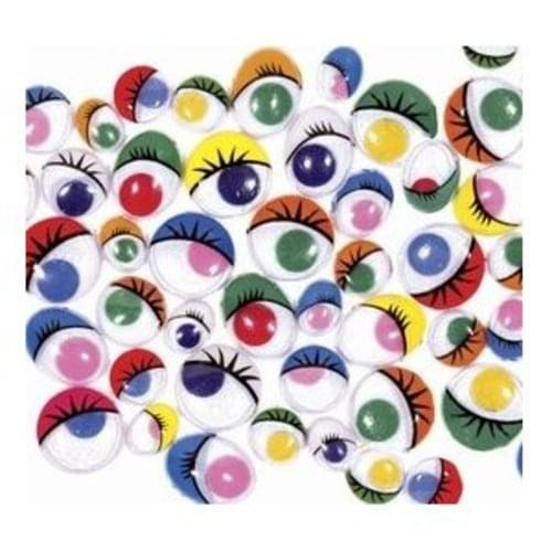 Wiggley Eyes Paint With Eye Lashes Assorted 100s
