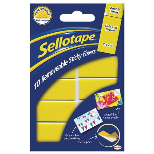 Sellotape Sticky Fixers Removable Strips 20mm x 40mm Pack 10s