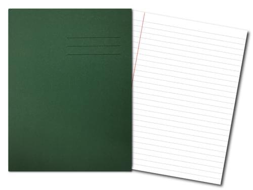 Exercise Books 8'' x 6.5'' 48 Pages 8mm Feint  Margin Dark Green
