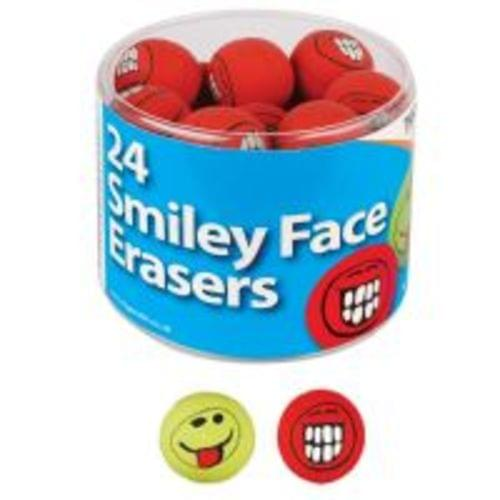 Smiley Face Erasers Assorted Red And Green