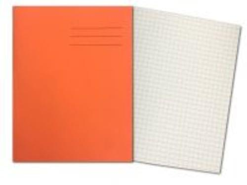 Exercise Books 9'' x 7'' 80 Pages 7mm Squares Orange