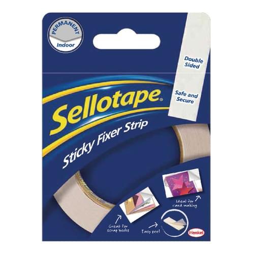 Sellotape Sticky Fixers Permanent Strip 25mm x 3m